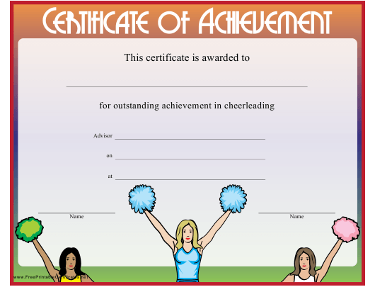 """Cheerleading Certificate of Achievement Template"" Download Pdf"
