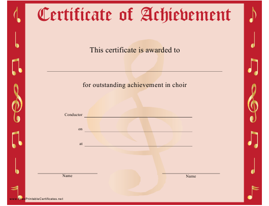 """""""Red Choir Certificate of Achievement Template"""" Download Pdf"""