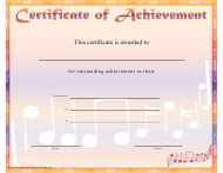 """Orange Choir Certificate of Achievement Template"""