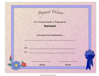 """Pageant Swimsuit Achievement Certificate Template"""
