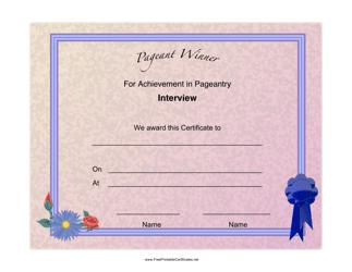 """Pageant Interview Achievement Certificate Template"""