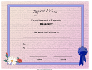 """""""Pageant Hospitality Achievement Certificate Template"""""""