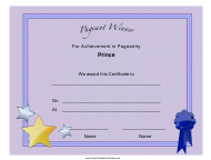 """""""Pageant Prince Achievement Certificate Template"""""""