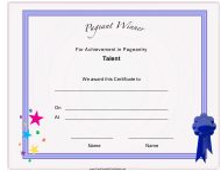 """Pageant Talent Achievement Certificate Template"""