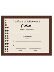 Poker Achievement Certificate Template