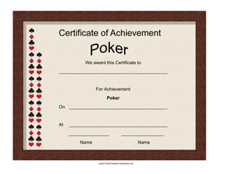 """Poker Achievement Certificate Template"""
