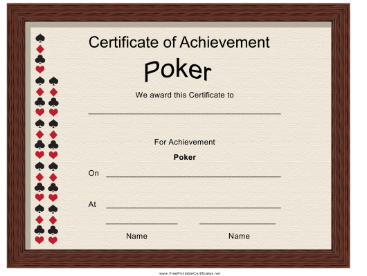 """Poker Achievement Certificate Template"" Download Pdf"