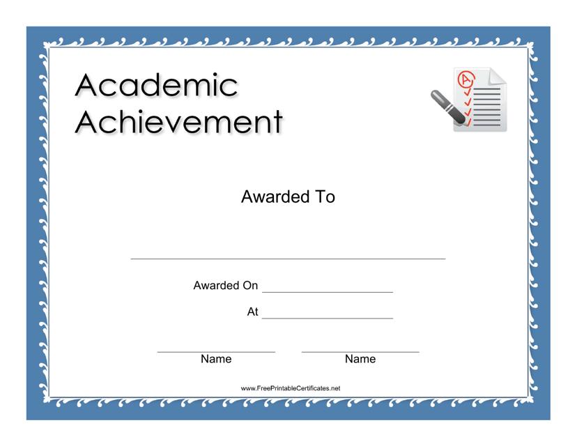 """Academic Achievement Certificate Template"" Download Pdf"