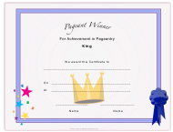 """""""Pageant King Achievement Certificate Template"""""""