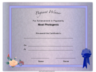 """""""Pageant Most Photogenic Achievement Certificate Template"""""""