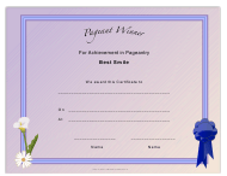 """Pageant Best Smile Achievement Certificate Template"""