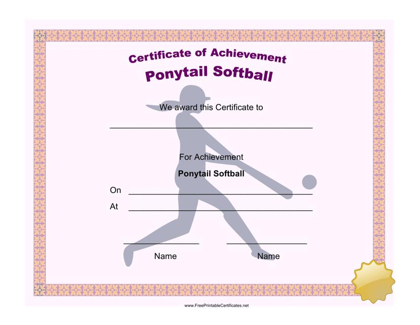 """Ponytail Softball Achievement Certificate Template"" Download Pdf"