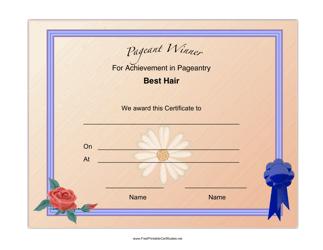 """Pageant Best Hair Achievement Certificate Template"""