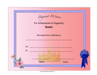 """Pageant Queen Achievement Certificate Template"""