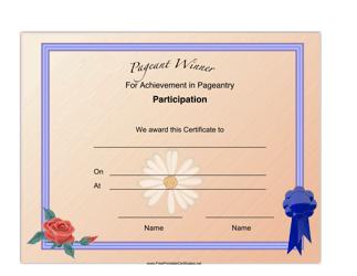 """""""Pageant Participation Achievement Certificate Template"""""""