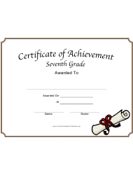 Seventh Grade Achievement Certificate Template