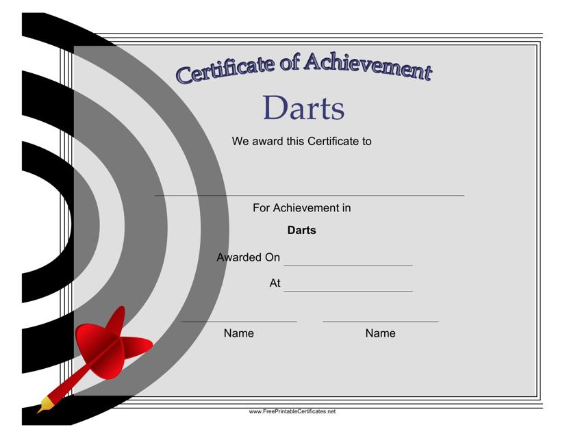 """Darts Certificate of Achievement Template"" Download Pdf"