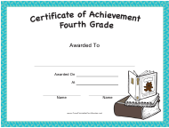 """Fourth Grade Achievement Certificate Template"""
