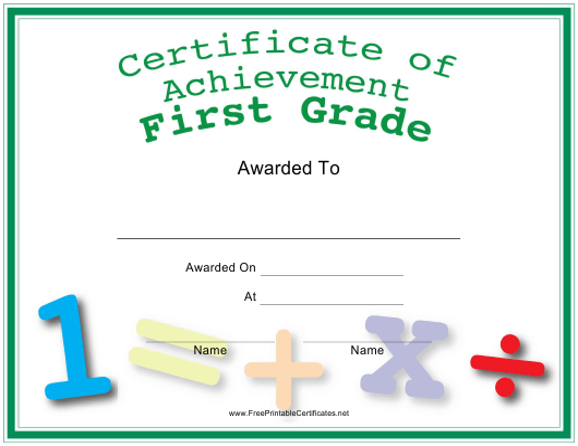"""First Grade Achievement Certificate Template"" Download Pdf"