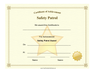 """Safety Patrol Achievement Certificate Template"""