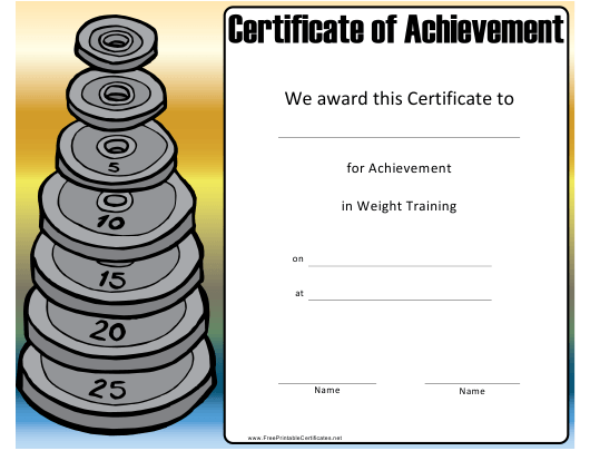 """Weight Training Achievement Certificate Template"" Download Pdf"