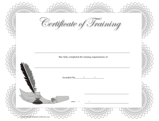 """Training Certificate Template"" Download Pdf"