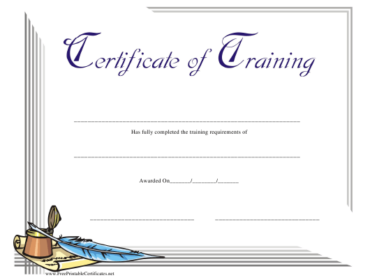 """""""Training Certificate Template"""" Download Pdf"""