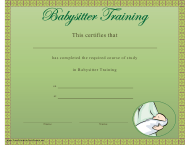 """Babysitter Training Certificate Template"""