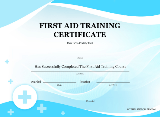 """""""First Aid Training Certificate Template"""" Download Pdf"""