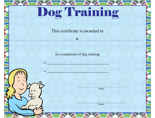 """Dog Training Certificate Template"" Download Pdf"