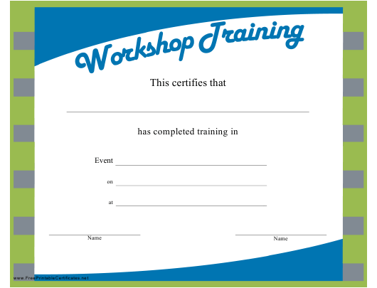 """Blue-White Workshop Training Certificate Template"" Download Pdf"