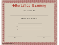 """Workshop Training Completion Certificate Template"""