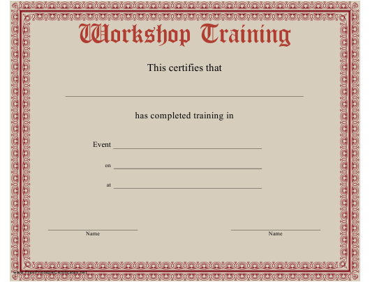 """Workshop Training Completion Certificate Template"" Download Pdf"