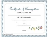 """""""Certificate of Recognition Template"""""""