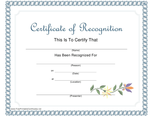 """""""Certificate of Recognition Template"""" Download Pdf"""
