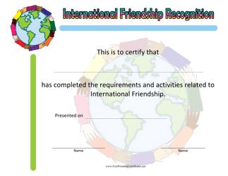 """International Friendship Achievement Certificate Template"""