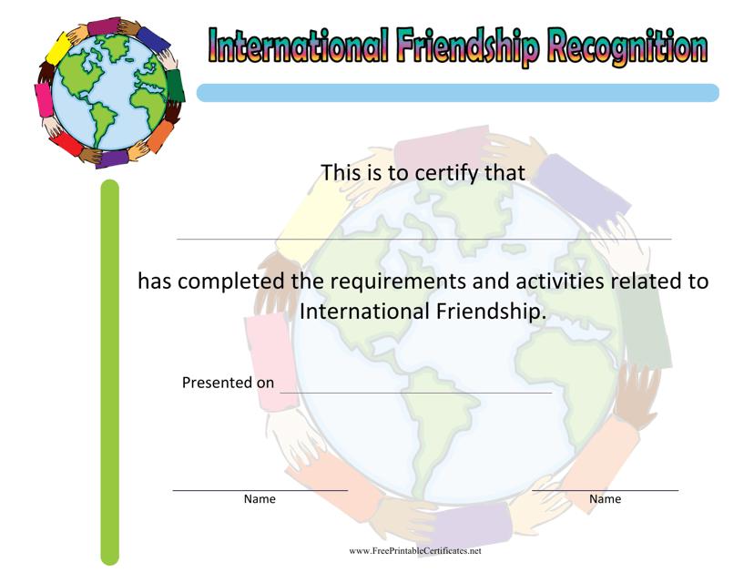 """International Friendship Achievement Certificate Template"" Download Pdf"