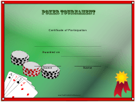 """Poker Tournament Participant Certificate Template"""