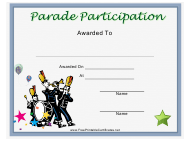 """Parade Participation Certificate Template"""