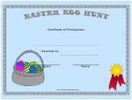"""""""Easter Egg Hunt Participant Certificate Template"""""""