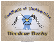 """Woodcar Derby Participation Certificate Template"""