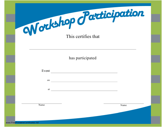 photograph relating to Printable Certificates of Participation identified as Workshop Certification of Participation Template Obtain