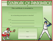 """Green Baseball Certificate of Participation Template"""