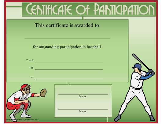 Green Baseball Certificate Of Participation Template Download