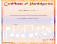 """Orange Choir Certificate of Participation Template"""