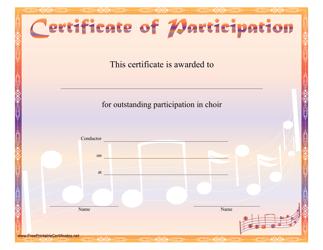 """Orange Choir Certificate of Participation Template"""