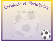 """Soccer Certificate of Participation Template"""