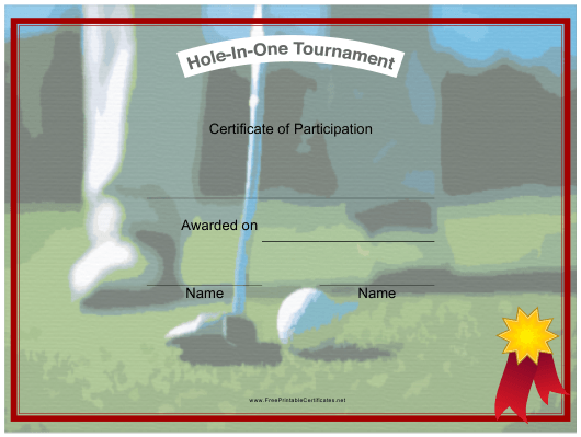 """""""Hole in One Tournament Certificate of Participation Template"""" Download Pdf"""