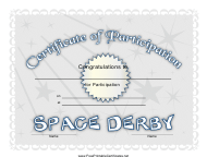 """Space Derby Participation Certificate Template"""
