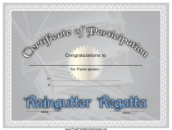 """Raingutter Regatta Participation Certificate Template"""